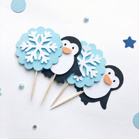 Penguin Cupcake Toppers Blue Penguin Boy Baby Shower Snowflake Picks Winter Boy 1st Birthday Decorations Baby It's Cold Outside WD020