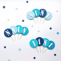Ombre Blue Cupcake Toppers