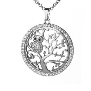 Small Owl Tree Of Life Pendant Necklace
