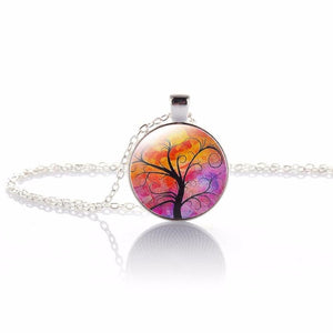 Glass Illusion Tree of Life Pattern Pendant Necklace
