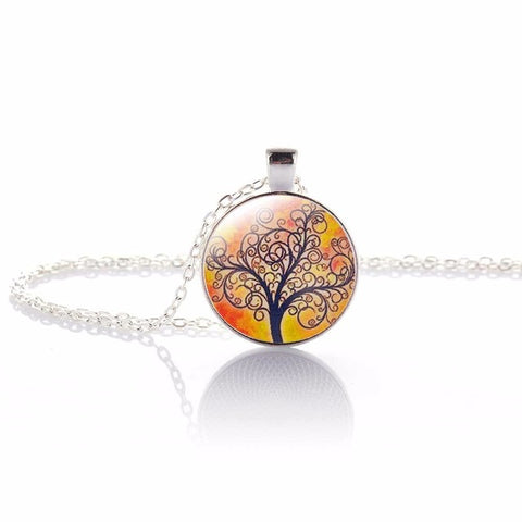 Image of Glass Illusion Tree of Life Pattern Pendant Necklace-Shopping Promos