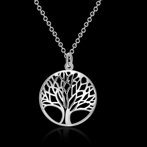 Image of Silver Color Tree Of Life Pendant Necklace-Shopping Promos