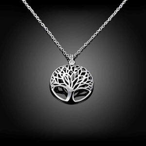 Silver Color Tree Of Life Pendant Necklace