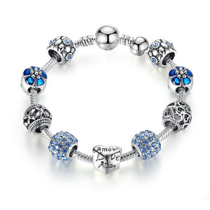 Love and Flower Charm Bracelet