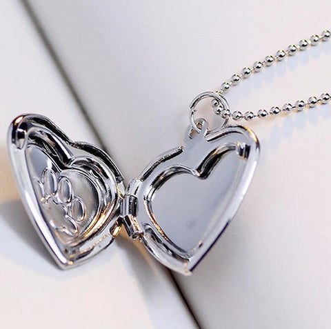 Image of Beautiful Memory Locket Pendant Silver/Gold Cat/Dog Paw Print-Shopping Promos