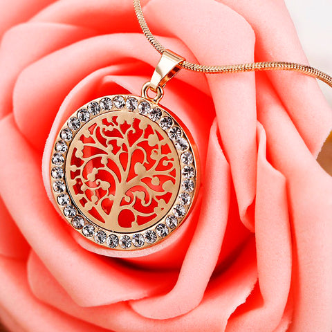 Image of Bijoux Austrian Crystal Tree Of Life Pendant Necklace-Shopping Promos