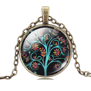 Art Glass Tree Of Life Pendant Necklace