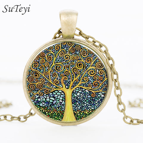 Retro Tree of Life Glass Cabochon Pendant Necklace-Shopping Promos