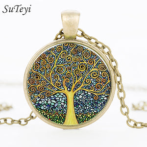 Retro Tree of Life Glass Cabochon Pendant Necklace