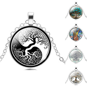 Retro Style Glass Cabochon Tree of Life Pendant Necklace-Shopping Promos