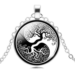 Retro Style Glass Cabochon Tree of Life Pendant Necklace