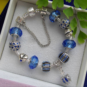 Crown Dangle Crystal Glass Bead Charm Bracelet-Shopping Promos