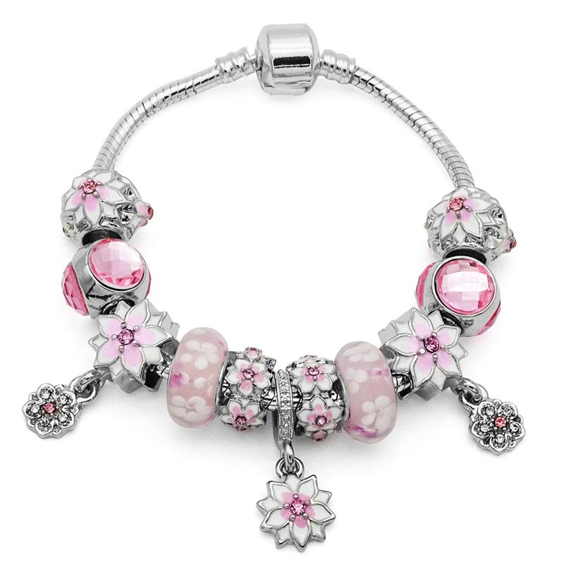 Beautiful Pink Flowers Charm Bracelet-Shopping Promos