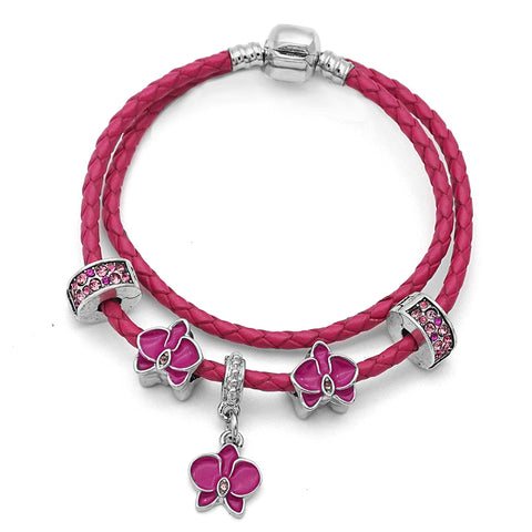 Beautiful Rose Red Leather Orchid Flower Charm Bracelet-Shopping Promos