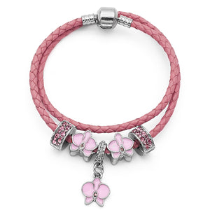 Pink Silver Orchid Leather Charm Bracelet-Shopping Promos