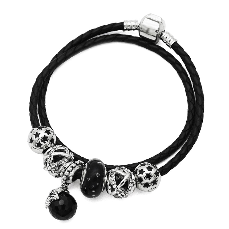 Exquisite Black Bubble Murano Leather Charm Bracelet-Shopping Promos