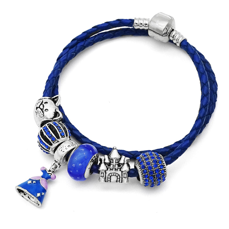 Classic Blue Genuine Leather Charm Bracelet-Shopping Promos