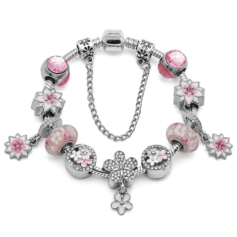 Exquisite Pink Flower Charm Bracelet-Shopping Promos