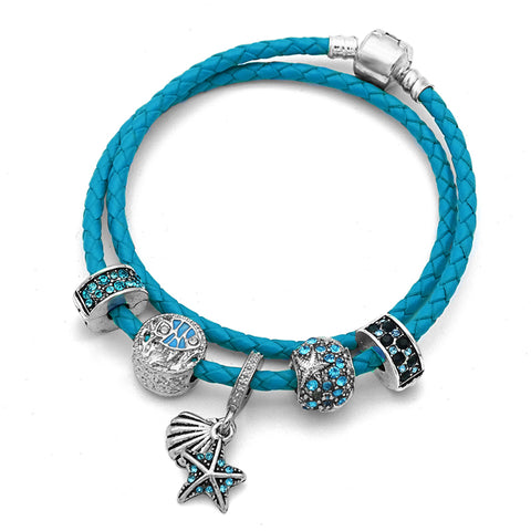 Starfish Charms Beads Bracelet Blue Genuine Leather-Shopping Promos