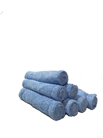 Blue microfiber towels