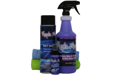 Package number 1 of purple Slice products includes purpleslice Wet-wet microfiber towels and travel size bottle