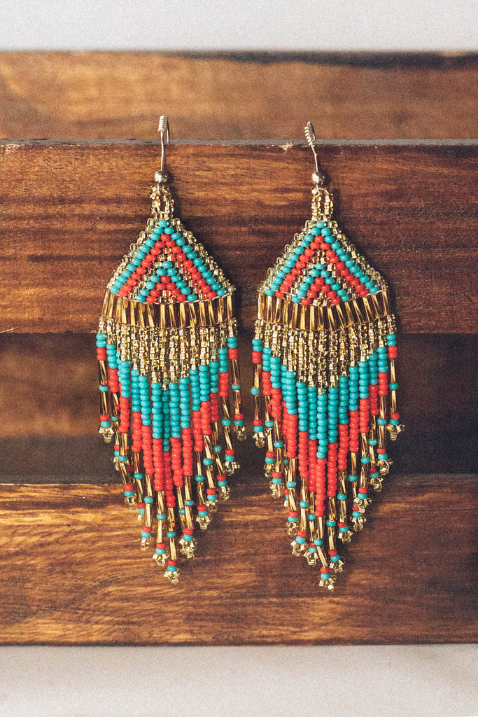 Colorful Festival Fringe Earrings: Red, Turquoise, Gold Beads