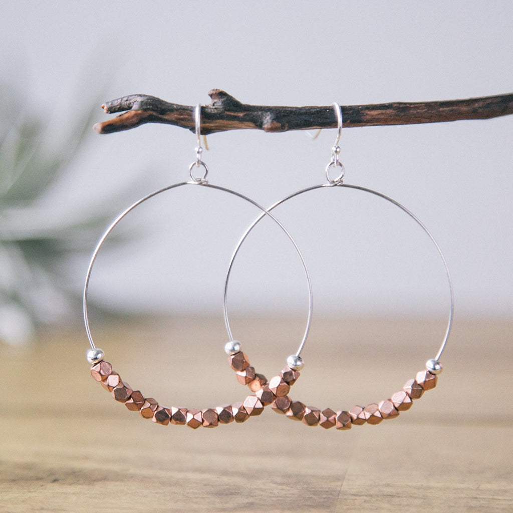 sparkly copper silver mixed metal beaded classic hoop earrings jewelry madres collective dominican republic