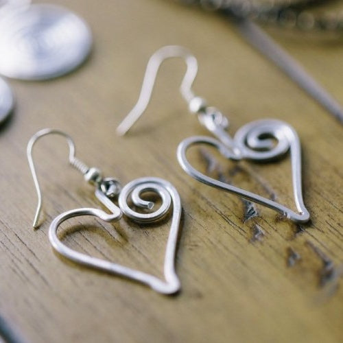 Handmade Heart Earrings Jewelry Gift for Women