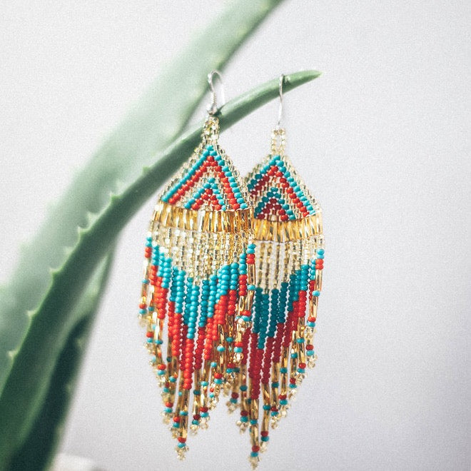 Colorful festival fringe dangle earrings red turquose gold beads