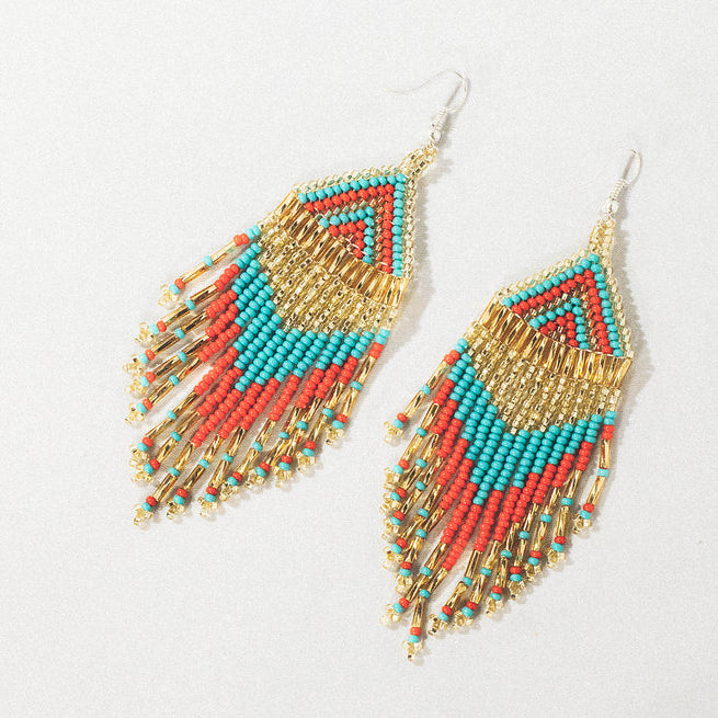 Fair Trade Fringe Danle Earrings Turquiose Red Gold Handmade in Guatemala