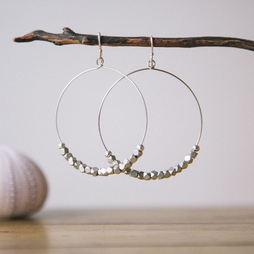 sparkly silver beaded classic hoop earrings jewelry madres collective dominican republic