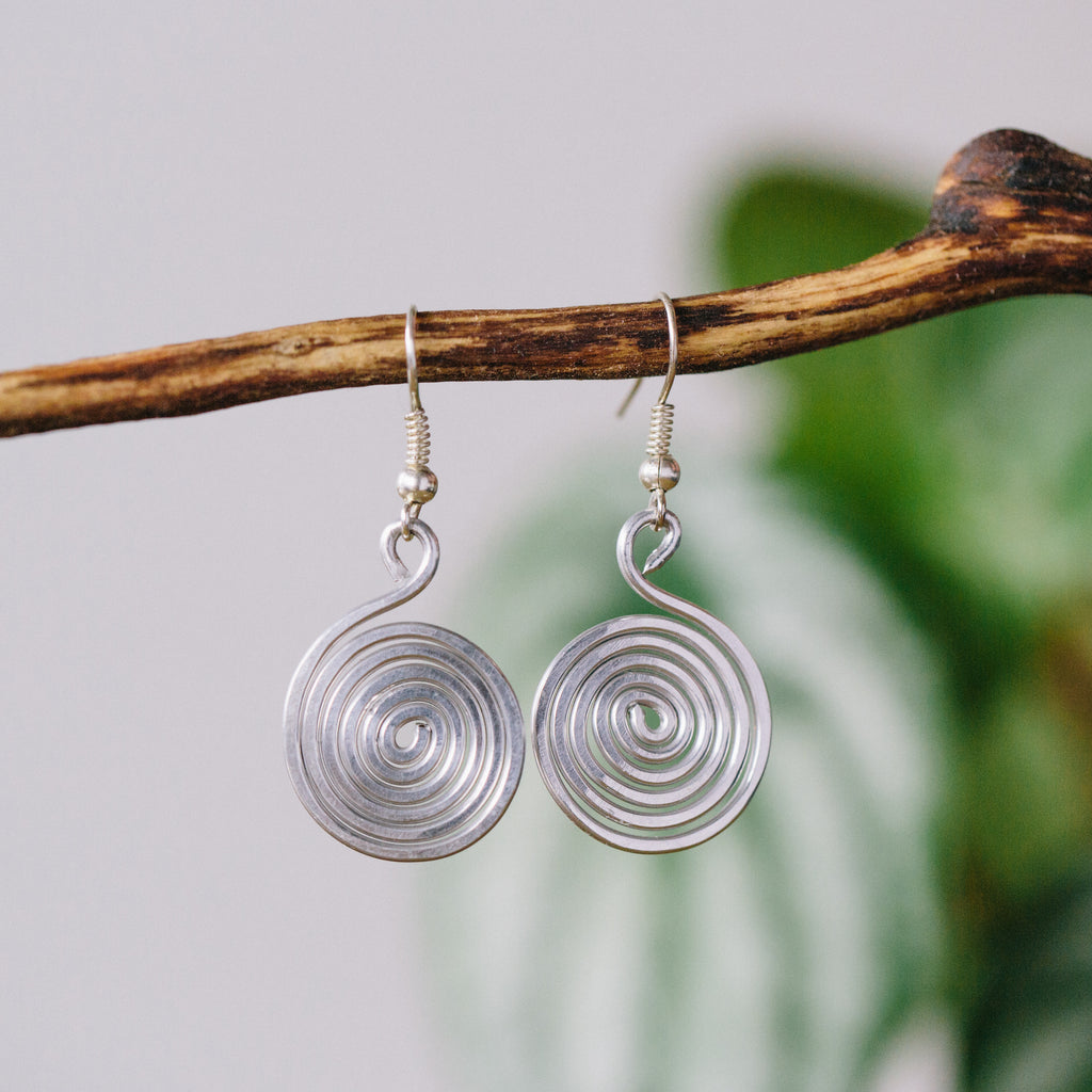 Cute Little Silver Spiral Earrings Fair Trade Jewelry Gift for Women by the Madres Collective
