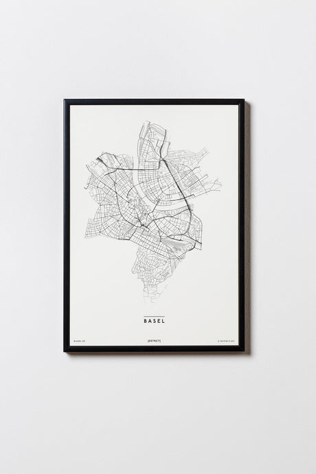 Basel | Schweiz | City Map | Karte | Plan | Print | Map | Rahmen | Framed