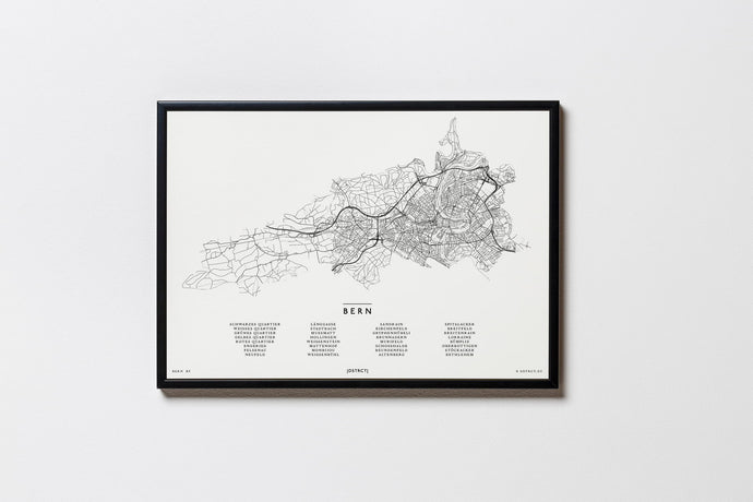 Bern | Schweiz | City Map | Karte | Plan | Print | Map | Rahmen | Framed