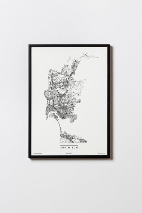San Diego | California | USA | City Map Karte Plan Bild Print Poster Mit Rahmen Framed