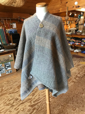 Shawl-handwoven wool pull over