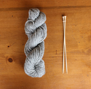 Yarn: 100% Wool Natural Gray Bulky