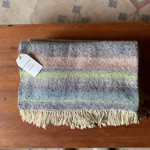 Handwoven Rainbow Throw: Wool, angora, and mohair