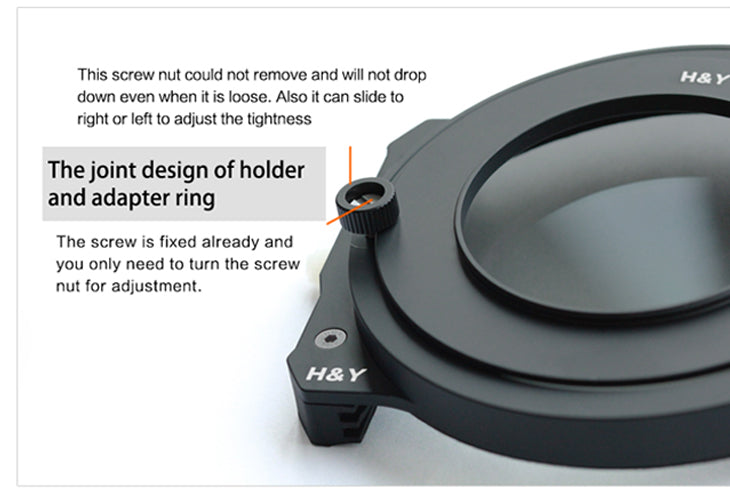 The joint design of holder and adapter ring