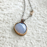 Arise Necklace with Rose Cut Blue Chalcedony
