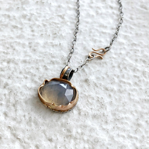 Arise Necklace with Rose Cut Grey Chalcedony