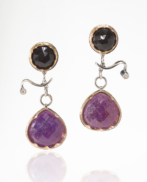 Arise Earrings in Ruby, Spinel and Diamond