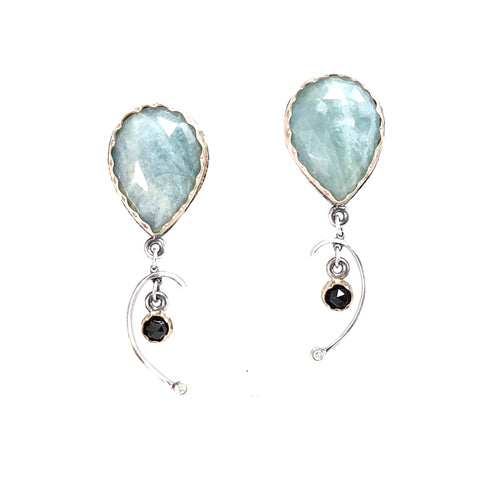 Arise Earrings in Aquamarine, Spinel and Diamonds
