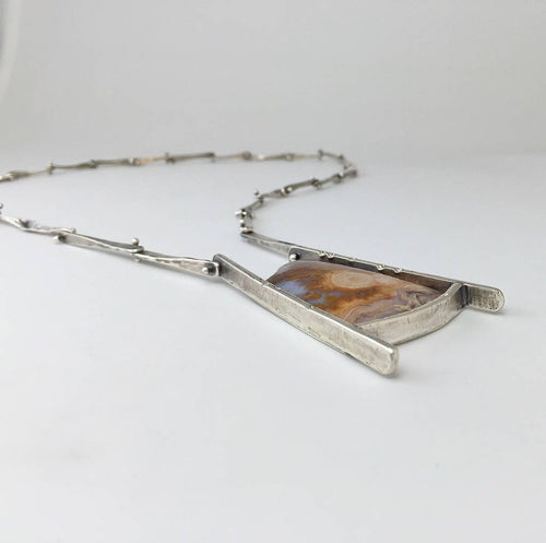 Earth Patterns Necklace with Lysite Agate