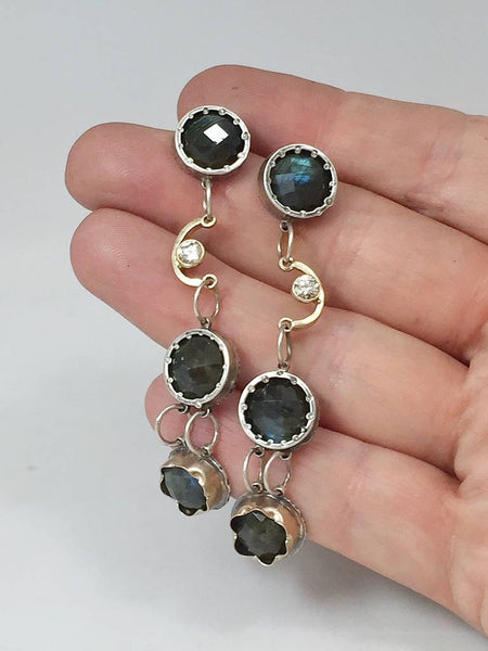 Fancy Earrings with Labradorite and Diamonds - long