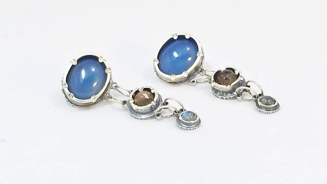 Fancy Earrings with Blue Chalcedony, Smokey Quartz, and Rainbow Moonstone