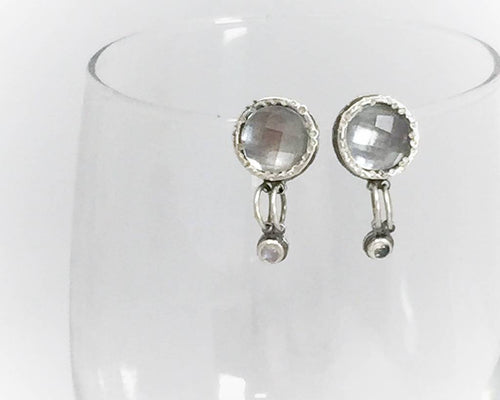 Fancy Earrings with Clear Quartz and Rainbow Moonstone