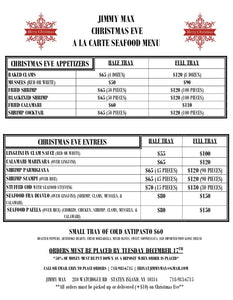 Jimmy Max Christmas Eve Catering Menu