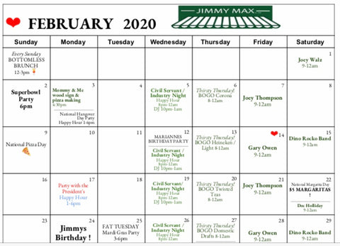 Jimmy Max February Calendar of Events