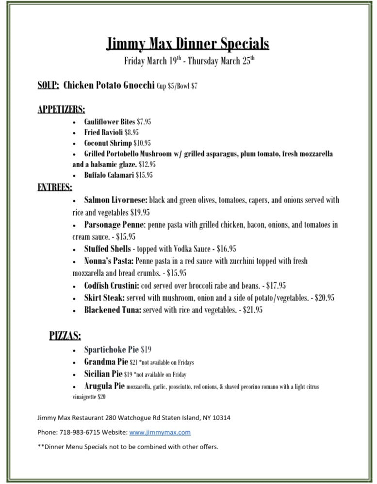 Jimmy Max Dinner Menu Specials